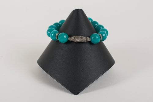 Teal Agate and Pave Diamond Beads