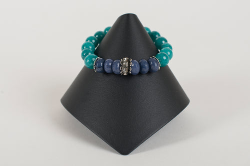 Teal Jade and Sapphire Agate with Gunmetal Crystal