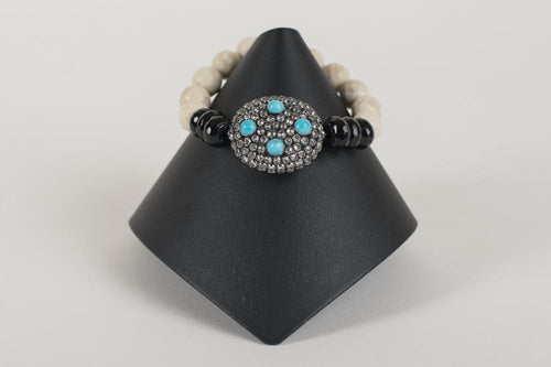 Agate and Black Onyx with Rock Crystal and Turquoise Focal Bead