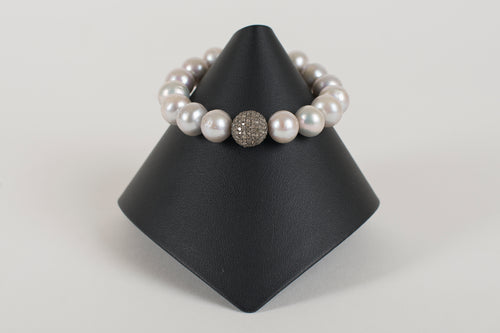 Grey Freshwater Pearl and Pave Diamond Bead