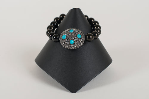 Faceted Black Onyx with Rock Crystal and Turquoise Bead