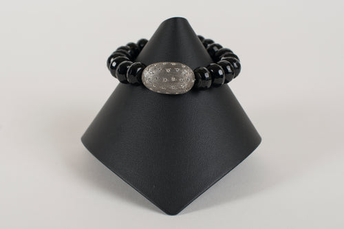 Faceted Black Onyx Rondelle with White Topaz and Sterling  Focal Bead