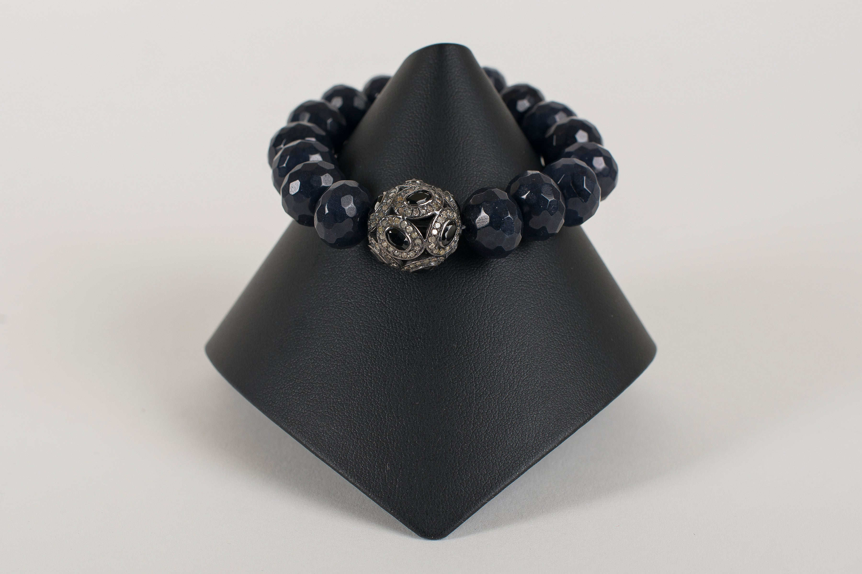 Faceted Navy Agate with Pave Diamond and Sapphire Focal Bead