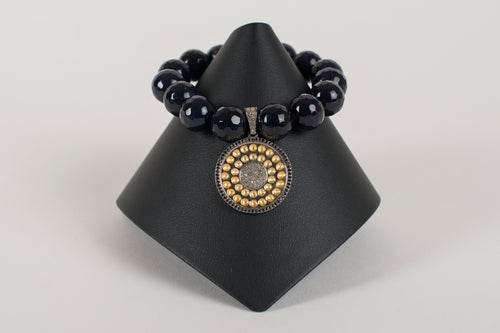 Navy  Goldstone with Vermeil and Pave Diamond Large Charm