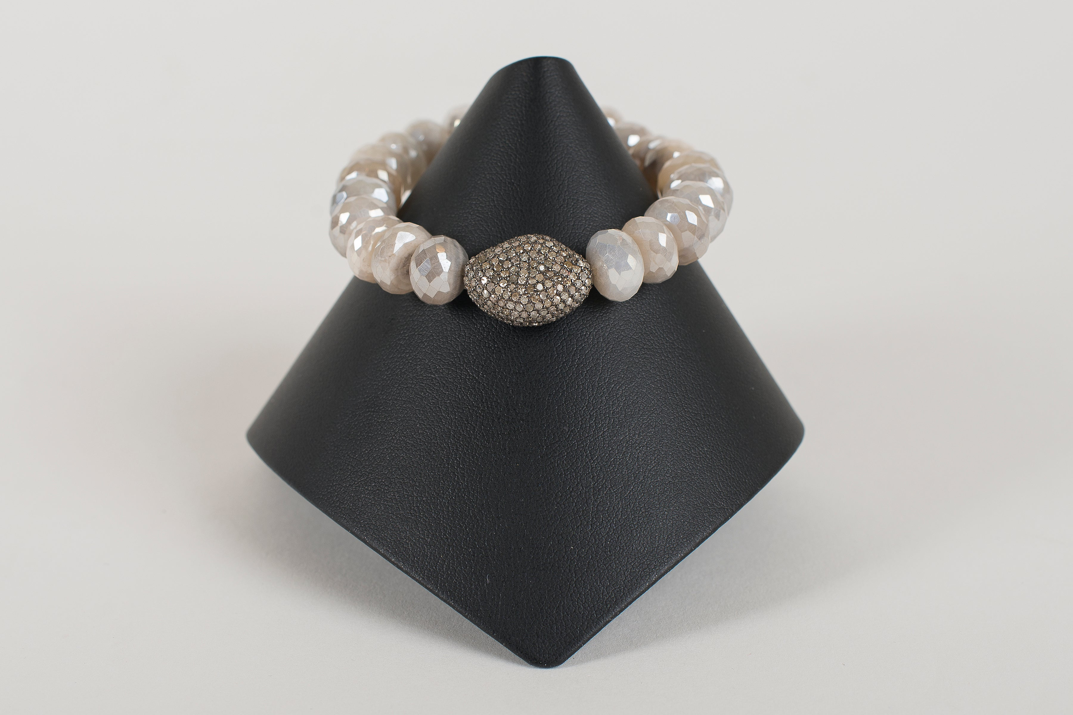 Faceted Mystic Moonstone Rondelle with Pave Diamond Bead