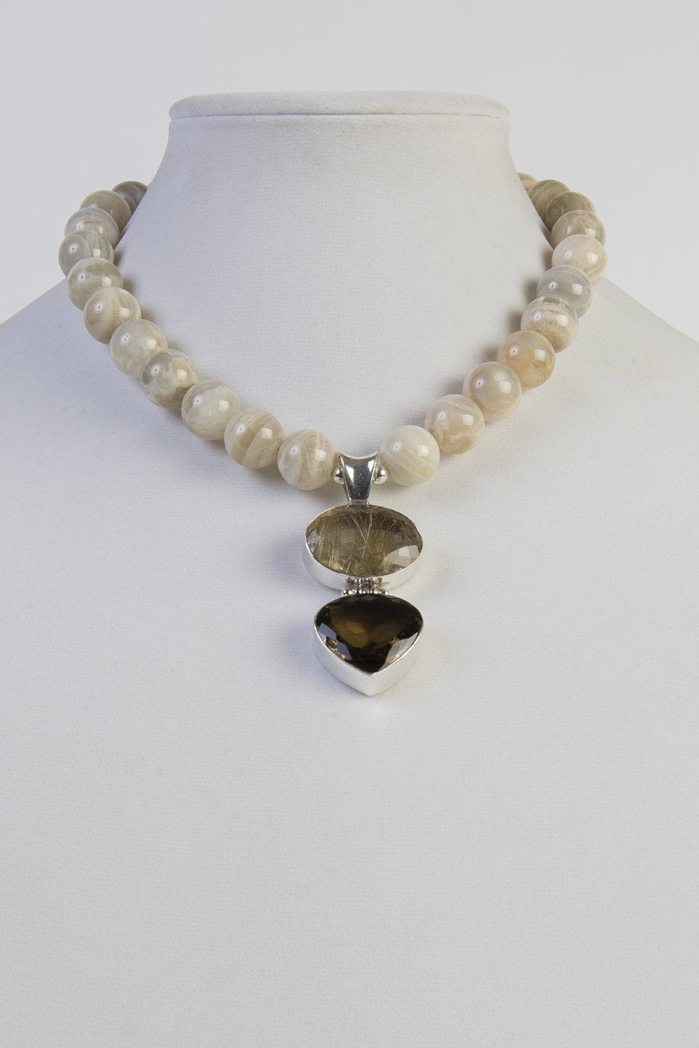 Agate beads with citrine and smoky quartz pendant