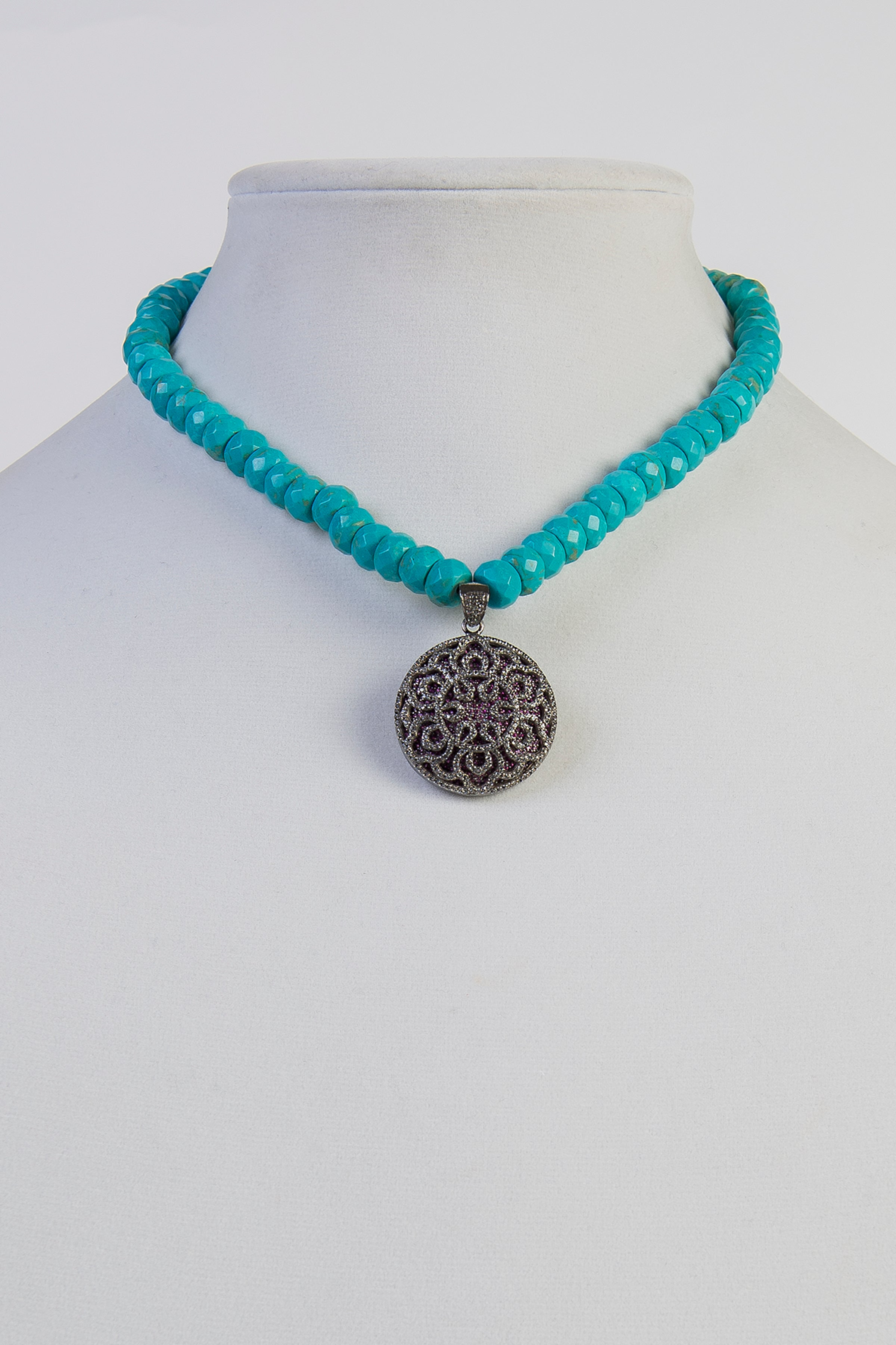 Turquoise and pave white topaz and ruby necklace