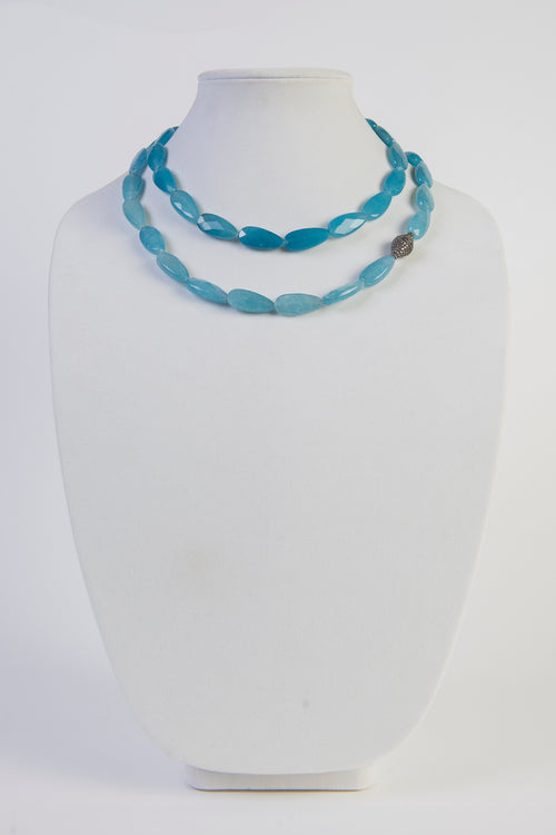 Aqua quartz and pave diamond long necklace