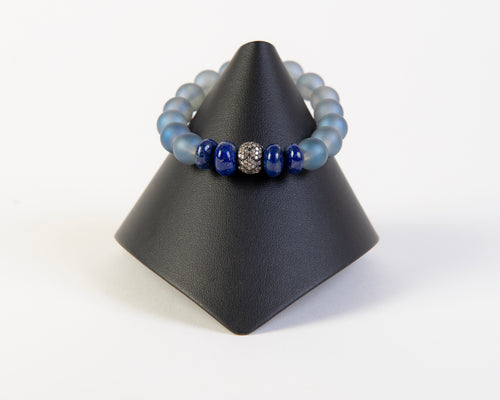 Pave diamond and lapis on frosted quartz