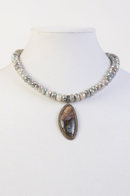 Jasper and pave diamond pendant on mystic moonstone