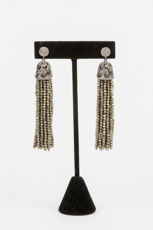 Pave Diamond, Pyrite Tassel Earrings