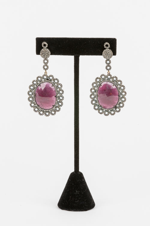 Pave Diamond, Ruby Earrings