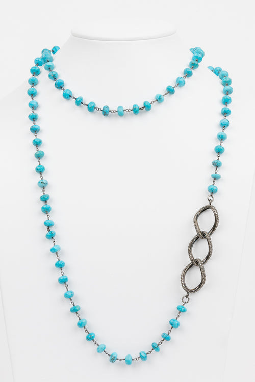 Pave Diamond Turquoise Necklace