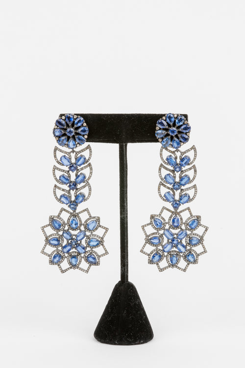 Pave Diamond, Sapphire Earrings