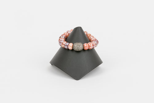 Mystic Sunstone and Pave Diamond Bracelet