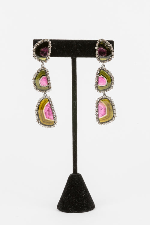 Pave Diamond, sliced Tourmaline Earrings