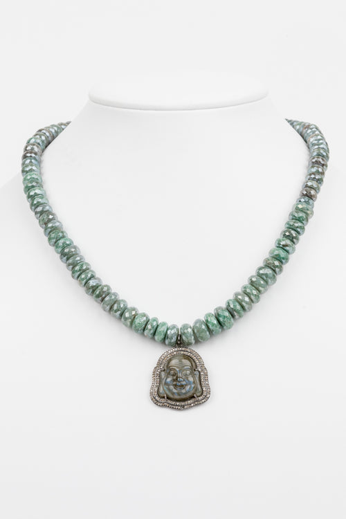 Labradorite and Pave Diamond Buddha Necklace