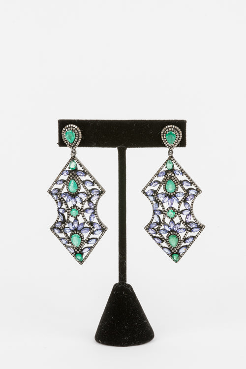 Pave Diamond, Emerald, Tanzanite Earrings