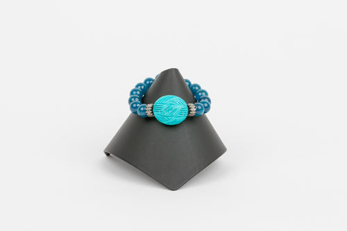 Carved Turquoise and Agate Bracelet