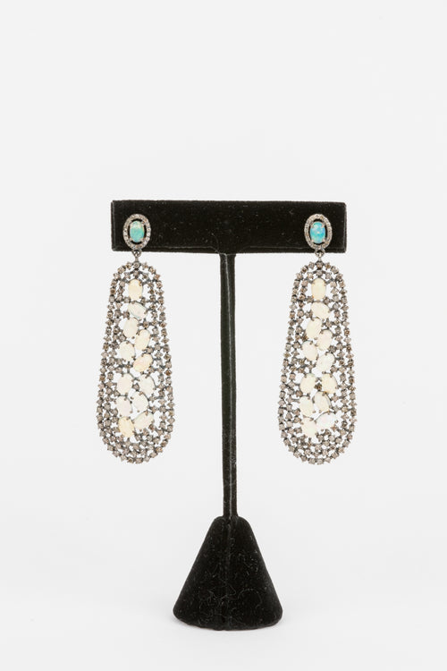 Pave Diamond, Opal Earrings