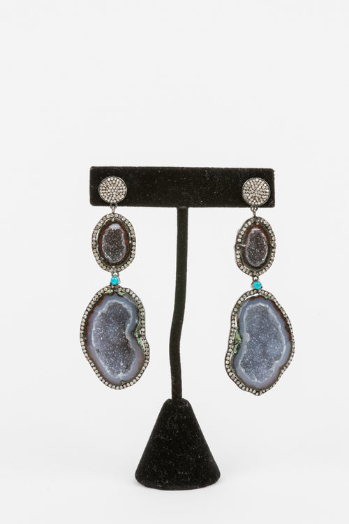 Pave Diamond, Sliced Geode Earrings