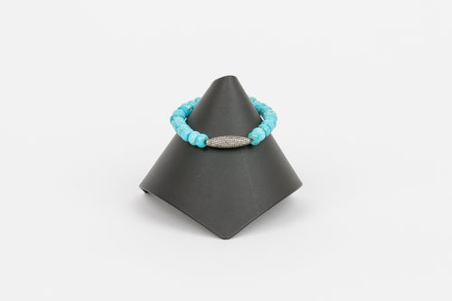 Turquoise and Pave Diamond Bracelet