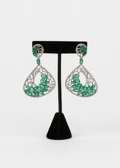 Pave Diamond, Emerald Statement Earrings