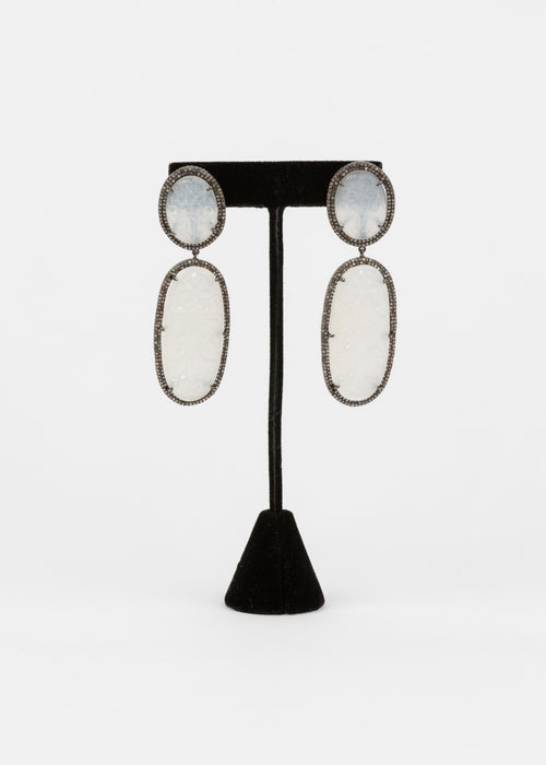 Pave Diamond, Carved Moonstone Earrings