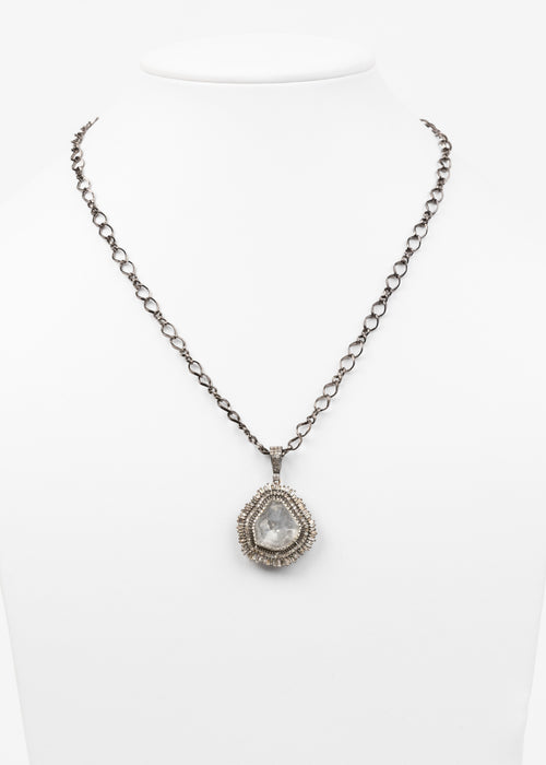 Rose Cut and Pave Diamond Necklace