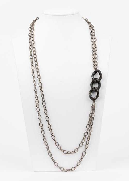 Black Spinel Link Necklace