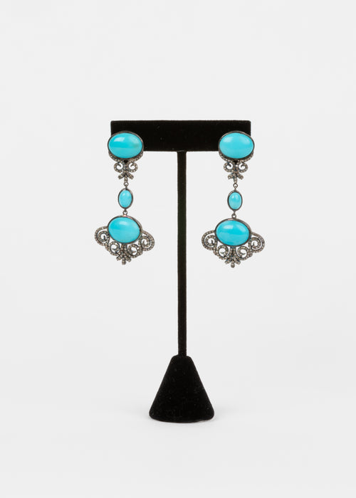 Pave Diamond, Turquoise Earrings