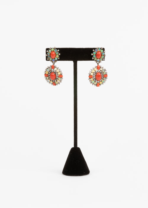 Pave Diamond, Coral and Opal Earrings
