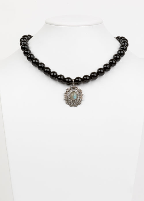 Black Onyx and Labradorite Necklace