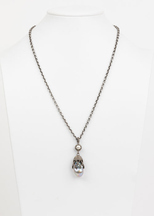 Pave Diamond and Grey Pearl Necklace