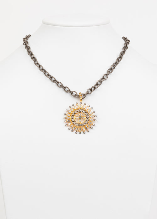 Rock Crystal and Vermeil Necklace