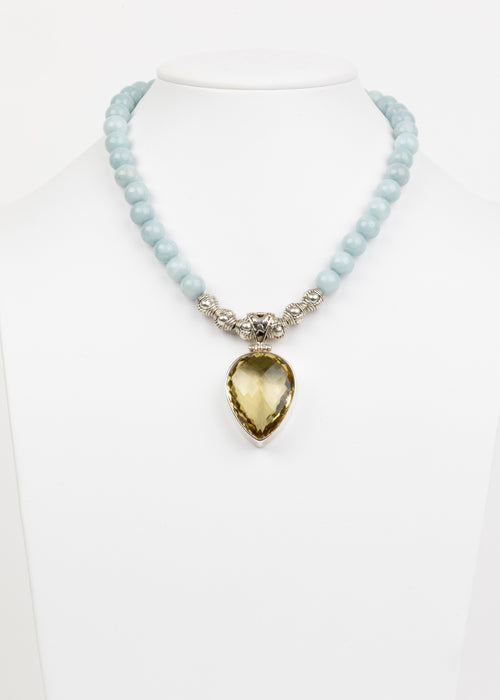 Lemon Topaz and Aquamarine Necklace
