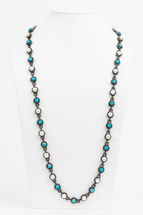 Pave Diamond, Turquoise, Pearl