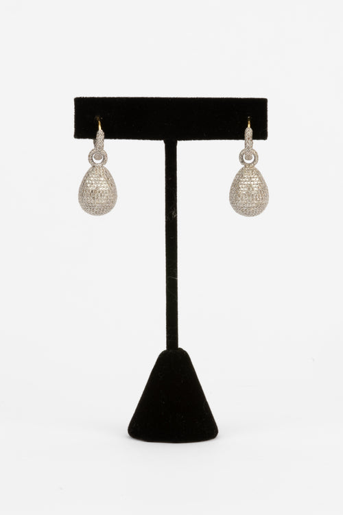 Pave Diamond Ball Earrings