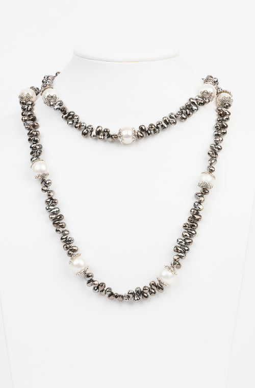 Pearl, Hematite Necklace