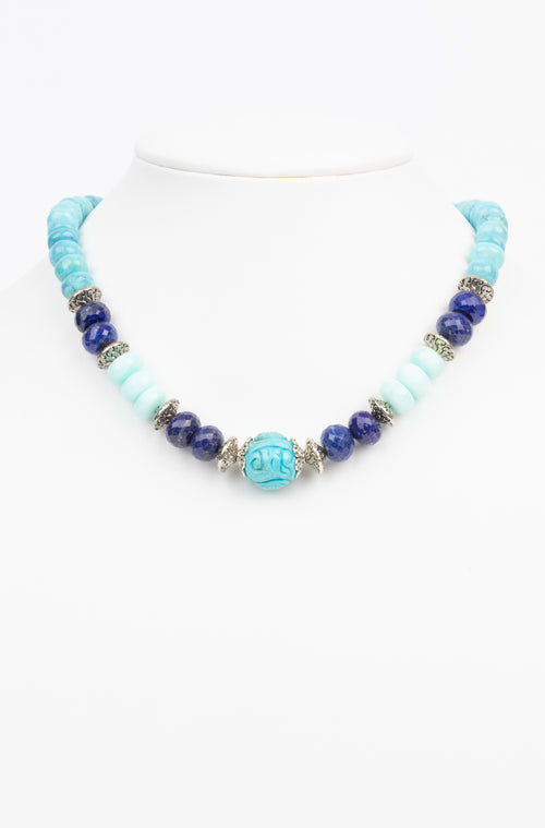 Turquoise, Lapis, Peruvian Opal Necklace
