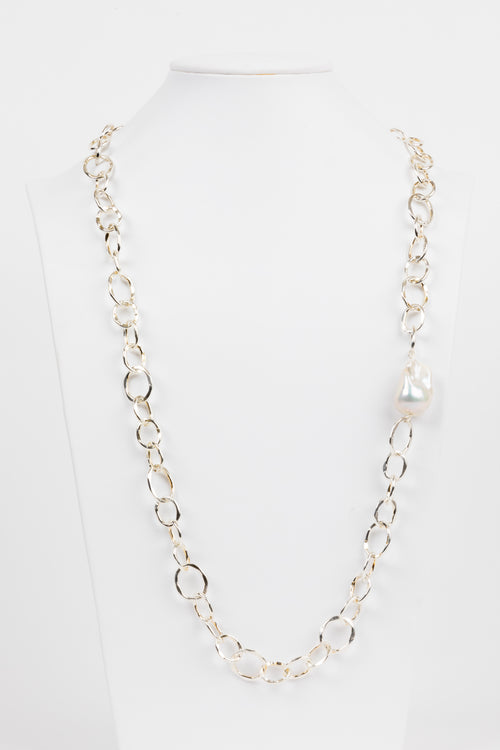 Baroque Pearl, Sterling Chain Necklace