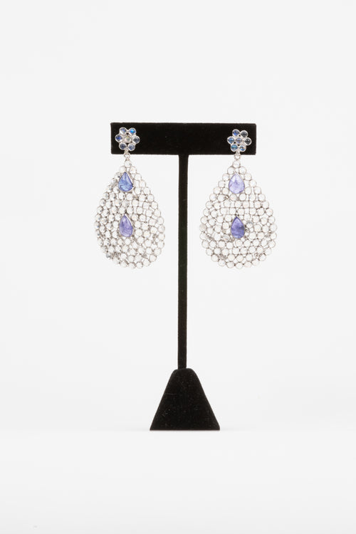 Rock Crystal, Tanzanite Earrings