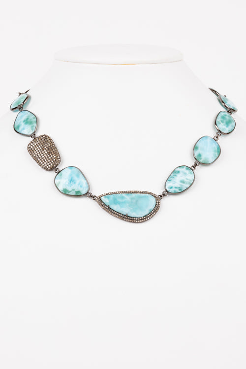 Pave Diamond, Larimar Necklace