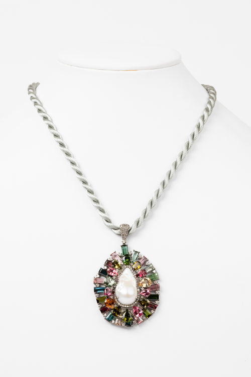 Pave Diamond, Pearl, Tourmaline Necklace