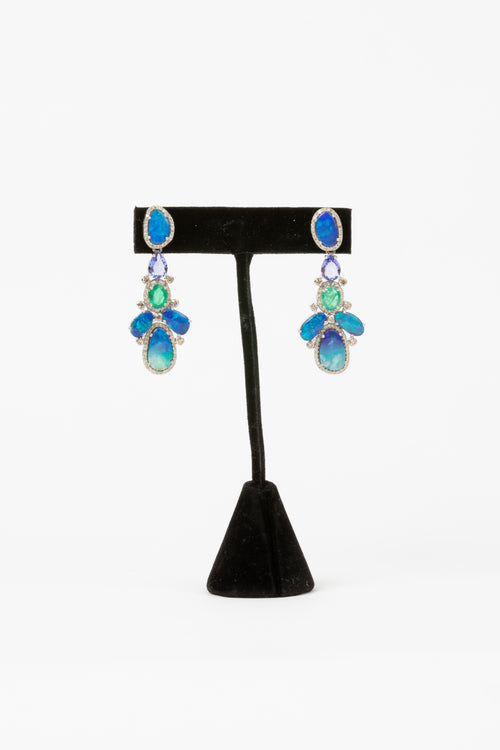 Pave Diamond, Opal, Tanzanite, Emerald Earrings