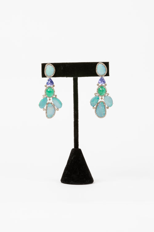 Pave Diamond, Opal, Emerald, Tanzanite Earrings