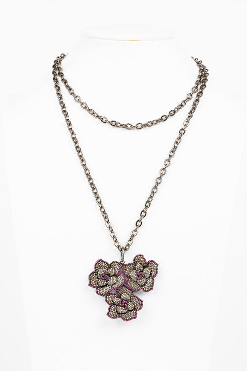 Pave Diamond, Ruby Flower Necklace