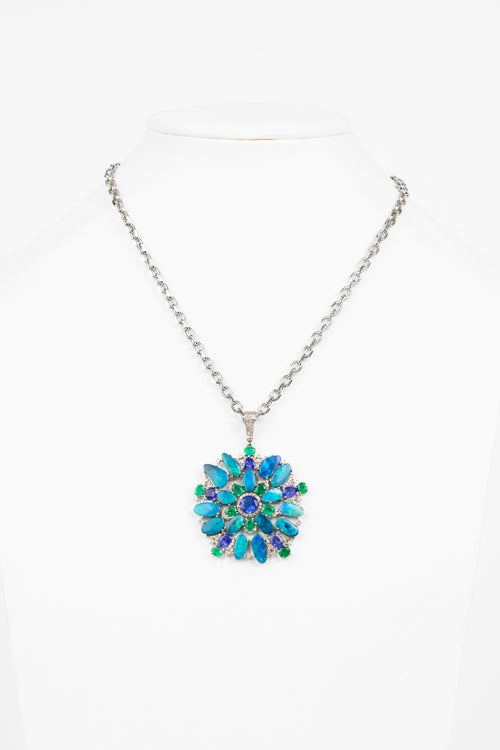 Pave Diamond, Australian Opal, Emerald, Tanzanite Necklace