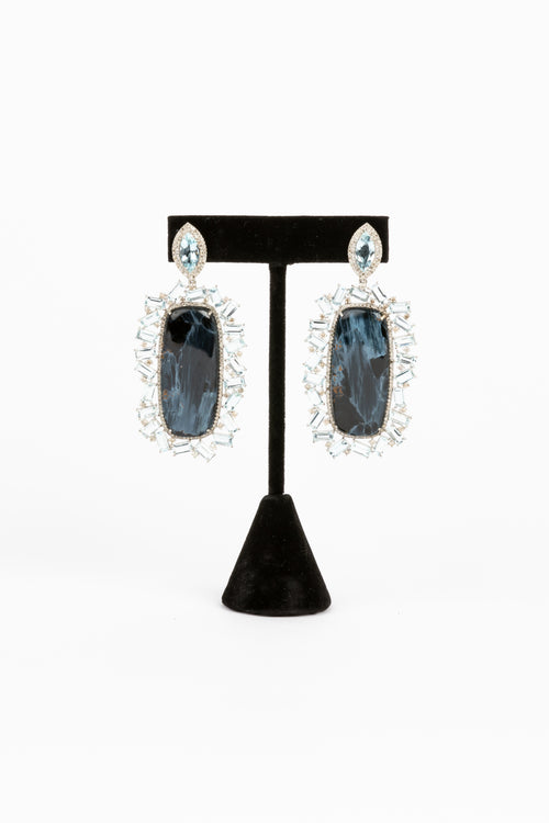 Pave Diamond, Aquamarine, Petersite Earrings