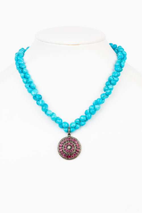 Pave Diamond, Ruby, Turquoise Necklace